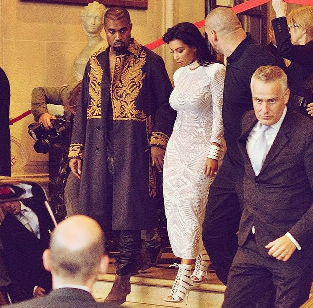 Kanye West with Kim Kardashian West at Paris Fashion Week