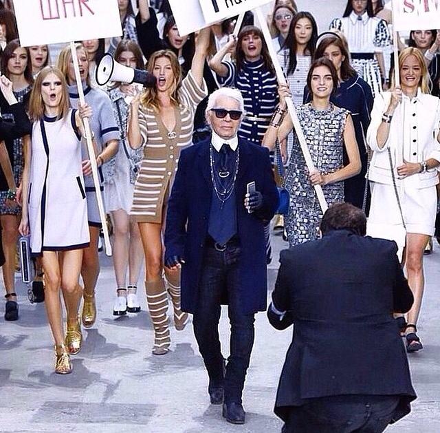 Karl Lagefeld at Chanel SS15 Womens Rights Rally at Paris Fashion Week
