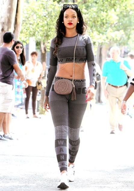 Rihanna wearing Alexander Wang X H&M