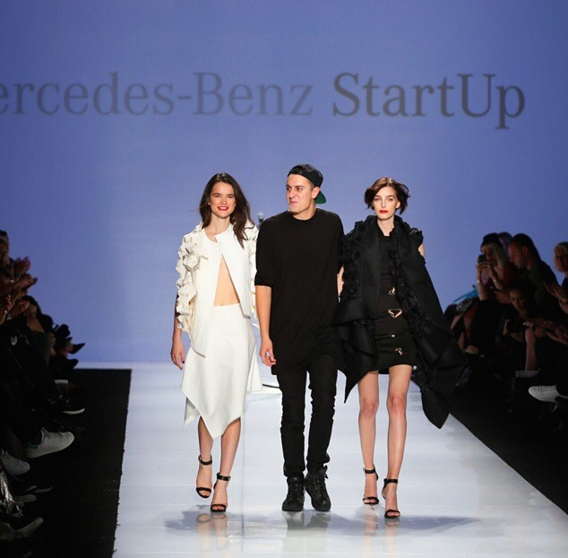 Sid Neigum with two models at Toronto's WMCFW SS15