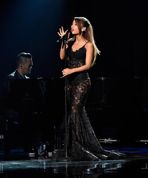 Ariana Grande wearing a stunning MT Costello gown at the 2014 AMA's