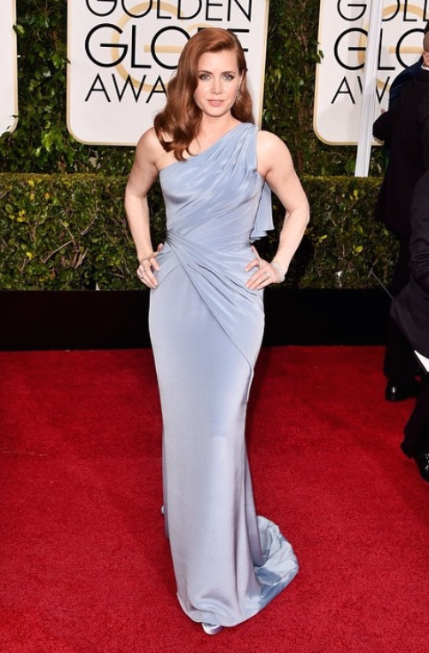 Amy Adams wearing Versace at the 2015 Golden Globes.