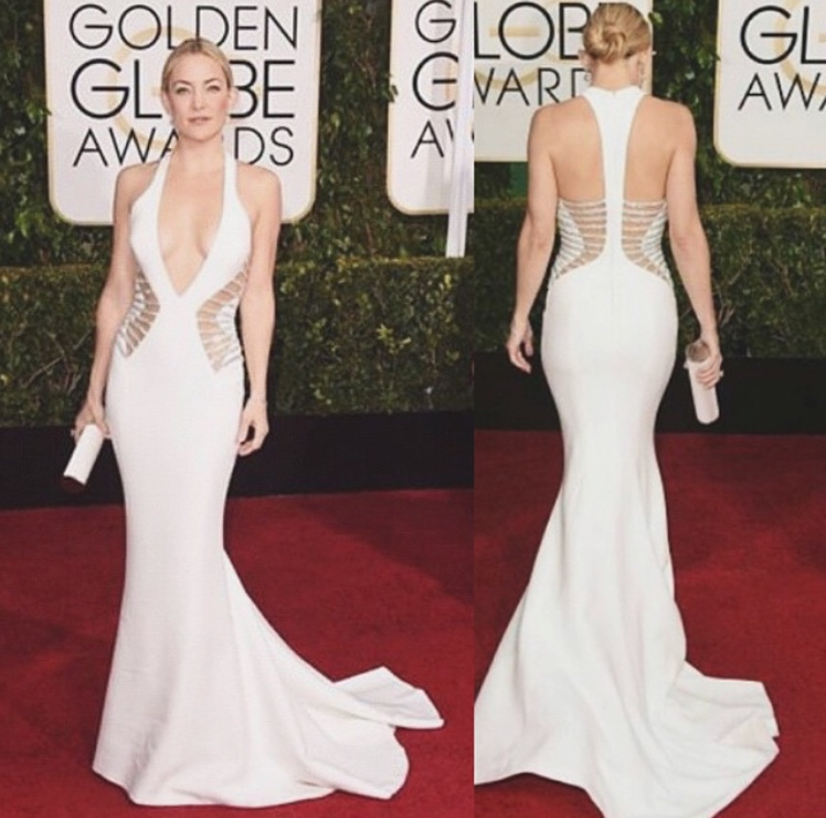 Kate Hudson wearing Versace at the 2015 Golden Globes.