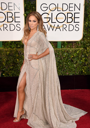 J Lo wearing Versace at the 2015 Golden Globes.